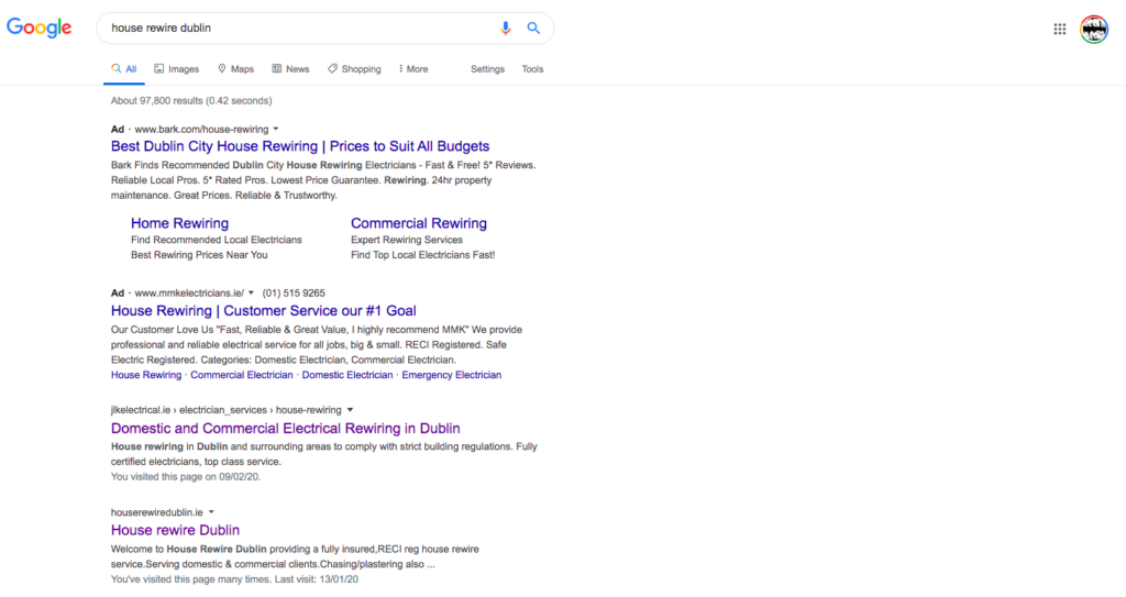 Page one position 2 rankings on Google for target keywords
